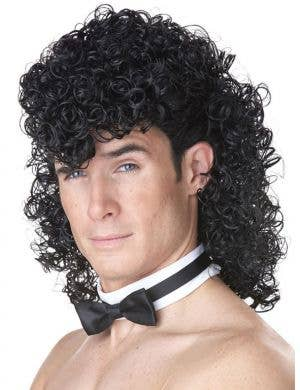 Men's Curly Black 80's Topless Waiter Stripper Wig and Bow Tie
