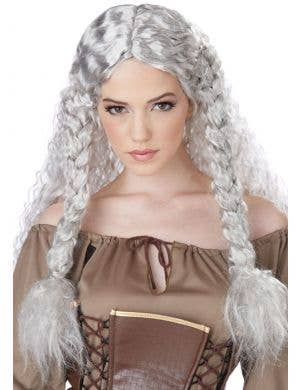 Viking Princess Women's Grey Costume Wig