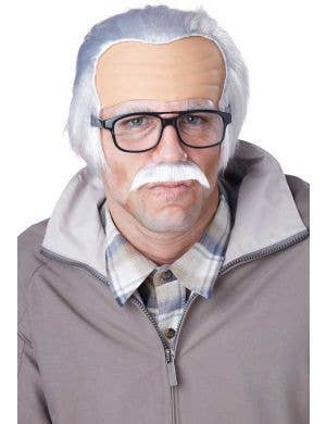 Men's Old Grandpa Funny White Costume Wig and Moustache