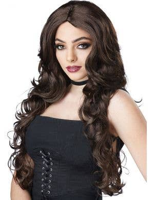 Dark Brown Women's Long Wavy Celebrity Glamour Wig Front View