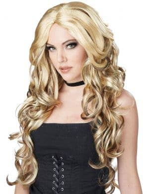 Glamour Women's Long Wavy Blonde wig with Brown Streaks Front View