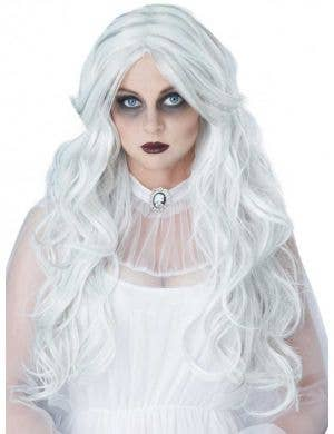 Women's Curly Long White Halloween Ghost Wig