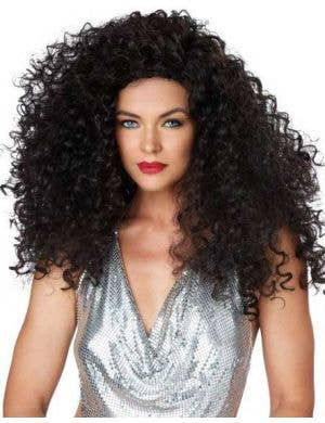 Women's Dark Brown Curly Disco Costume Wig