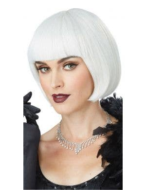 1920's Flapper Women's Silver White Bob Costume Wig
