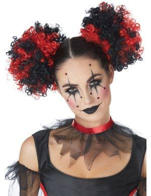 Clown Puffs Black And Red Clip In Curly Hair Buns Costume Accessory