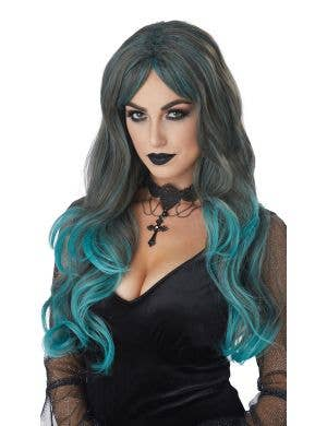 Colour Bleed Women's Deluxe Long Blue Ombre Costume Wig