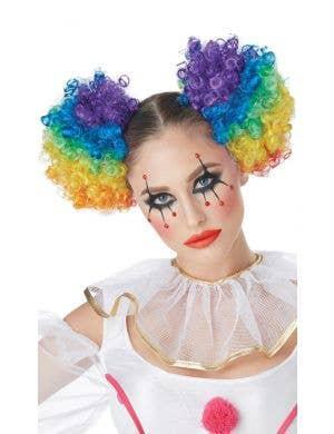 Clown Puffs Rainbow Clip In Curly Buns