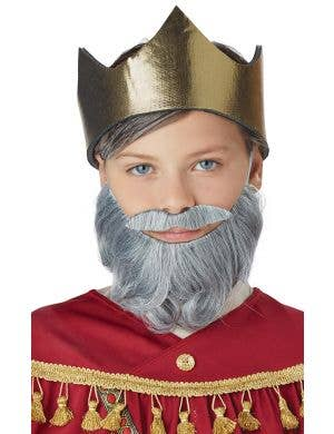 California Costumes kids wise man curly brown beard and moustache costume accessory set - Main Image