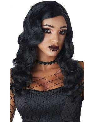 Sultry Siren Women's Long Black Curly Costume Wig