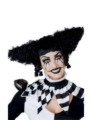 Creepy Clown Women's Curly Black Halloween Costume Wig