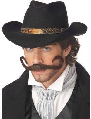 The Gunslinger Brown Curled Moustache