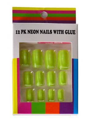 Neon Yellow Fake Stick On Fingernails