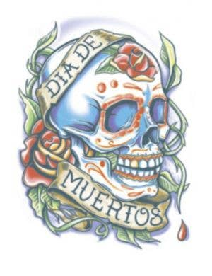 Day of the Dead La Rosa Sugar Skull Halloween Temporary Tattoo