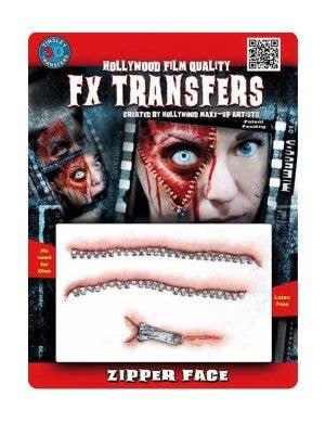Zipper Face 3D Special Effects Transfer Halloween Wound