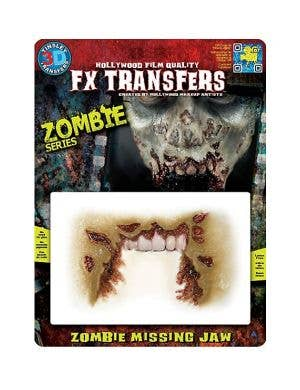 Zombie Missing Jaw 3D Transfer Halloween Wound