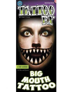 Big Cheshire Mouth Temporary Halloween Tattoo Main Image