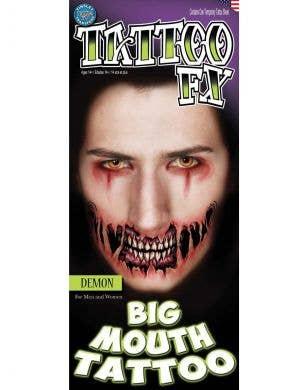 Demon Big Mouth Temporary Halloween Tattoo Main Image