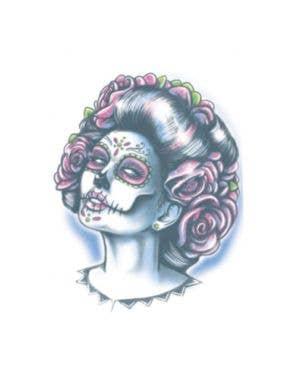 Senora Muerte Day Of The Dead Temporary Tattoo Costume Accessory