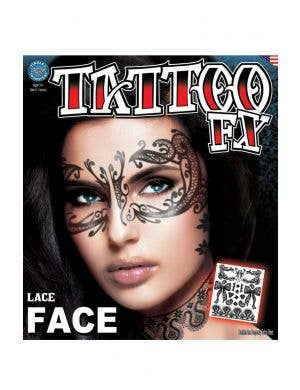 Lace Face Temporary Tattoo Makeup Main Image