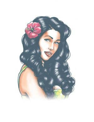 Pin Up Aloha Hawaiian Girl Temporary Tattoo Costume Accessory
