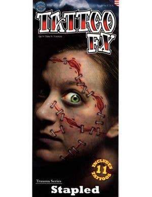 Stapled Skin Temporary Face Tattoo FX Halloween Makeup