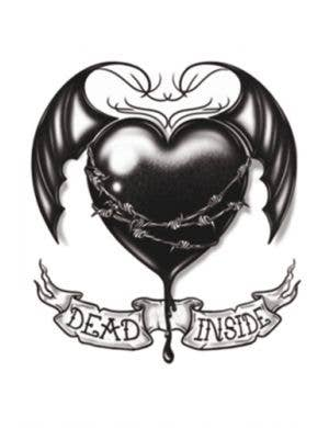 Dead Inside Gothic Heart Temporary Costume Tattoo