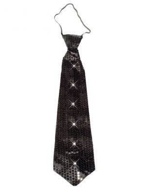 Light Up Black Sequined Costume Tie Front View