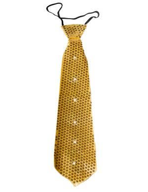 Light Up Gold Sequined Costume Tie Front View