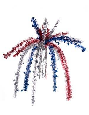 Red White and Blue Tinsel Chandelier Party Decoration Main Image
