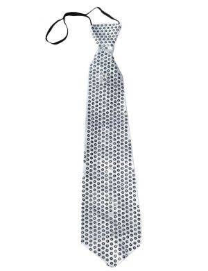 Light Up Silver Sequined Costume Tie Front View