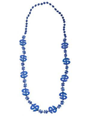 Dollar Sign Blue Beaded Necklace Costume Accessory