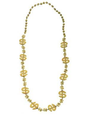 Dollar Sign Gold Beaded Pimp Necklace