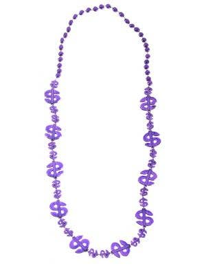 Dollar Sign Purple Beaded Mardi Gras Necklace