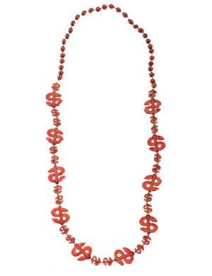Dollar Sign Red Beaded Necklace Costume Accessory
