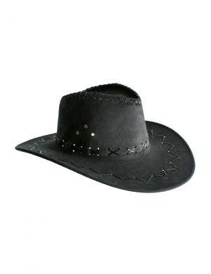 Cowboy Outback Faux Suede Black Unisex Costume Hat Accessory