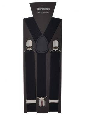 Basic Black Stretch Suspenders Costume Accessory