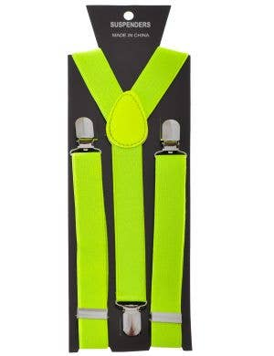 Neon Yellow Stretch Suspenders Costume Accessory