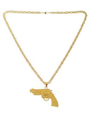 Gold Gangster Gun Deluxe Costume Accessory Necklace