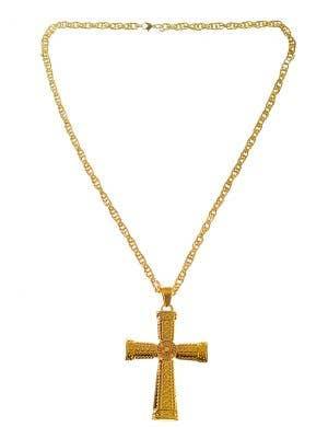 Hip Hop Heavy Metal Gold Cross Costume Necklace