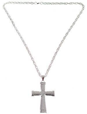 Pimp Silver Cross Deluxe Costume Necklace