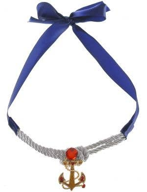 Sailor Girl Gold Anchor Tie Up Costume Necklace