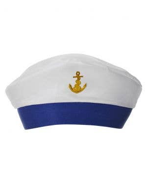 White and Blue Sailor Hat with Gold Anchor Costume Accessory Hat