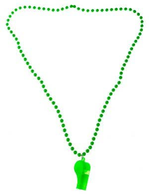 Neon Green 70's Disco Whistle on Bead Necklace