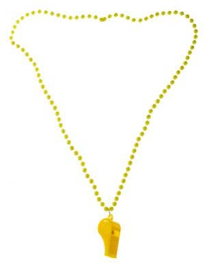 Neon Yellow 70's Beaded Necklace with Disco Whistle