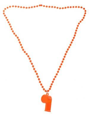 Neon Orange 70's Beaded Necklace with Disco Whistle