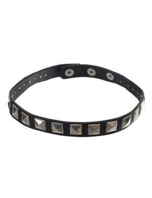 Leather Look Black Punk Choker with Square Silver Studs