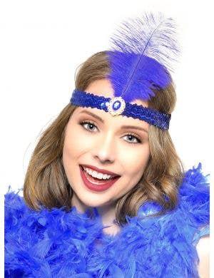Royal Blue 1920s Feather Flapper Headband
