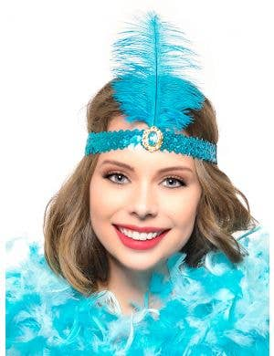 Turquoise 1920's Flapper Feather Headband