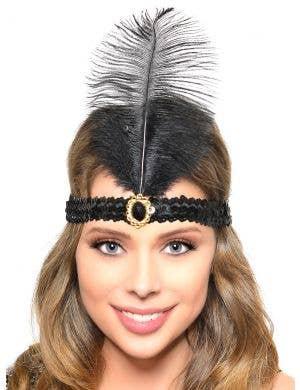 Black Feather Roaring 20s Flapper Headband