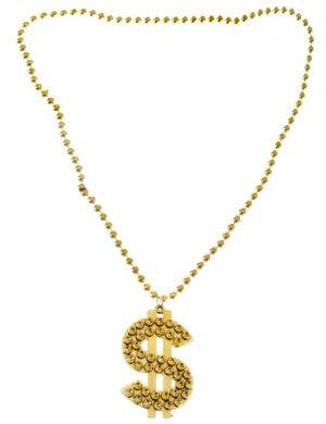 Gold Dollar Sign Bling Gangster Costume Necklace